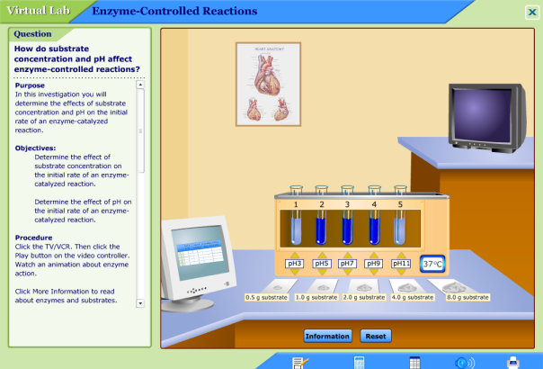 Glencoe Bio VirtualLab: pH and substrate concentration vs enzyme ...