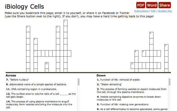 photosynthesis crossword puzzle answers