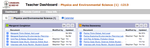 Hapara Dashboard: screenshot well after the project has finished, but you get the idea. Green = Bio, Orange = Chem.