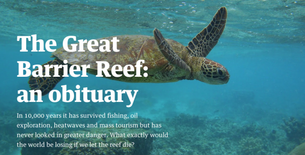 The Great Barrier Reef: An Obituary. This haunting multimedia Guardian piece could be a perfect provocation for a unit.